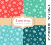 set of four christmas seamless... | Shutterstock .eps vector #764148676