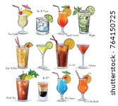 collection of popular cocktails ... | Shutterstock .eps vector #764150725