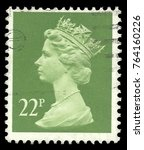 Small photo of Great Britain - stamp printed in1980, Series Heads of State, Queens, Royal families, Queen Elizabeth 2nd