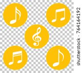 yellow colored music notes and... | Shutterstock .eps vector #764164192