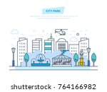 city park. children's... | Shutterstock .eps vector #764166982