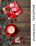 coffee and gift box on... | Shutterstock . vector #764169448