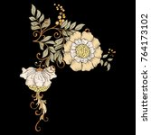 embroidery for fashion. floral... | Shutterstock .eps vector #764173102