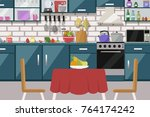 kitchen interior  with table ... | Shutterstock .eps vector #764174242