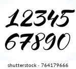 brush lettering numbers. modern ... | Shutterstock .eps vector #764179666