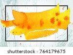 light wood texture with orange... | Shutterstock .eps vector #764179675