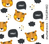 vector print with tiger for baby | Shutterstock .eps vector #764189482