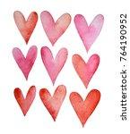 set of watercolor hearts.... | Shutterstock . vector #764190952