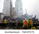 NEW YORK - SEPT 20 :  Image of Ground Zero World Trade Centre from Fire Station roof on September 20, 2001 in New York. - stock photo