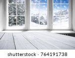 window with winter landscape... | Shutterstock . vector #764191738