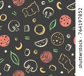 seamless pattern of color pizza ... | Shutterstock .eps vector #764197852