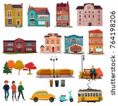 city environment isolated icons ... | Shutterstock .eps vector #764198206