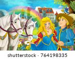 cartoon scene with beautiful... | Shutterstock . vector #764198335