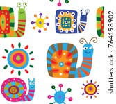 seamless pattern with a cute... | Shutterstock .eps vector #764198902