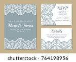 template of wedding cards with... | Shutterstock .eps vector #764198956
