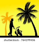 father walking with his baby on ...   Shutterstock .eps vector #764199436