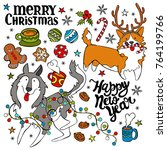 dogs  husky and corgi. merry... | Shutterstock .eps vector #764199766
