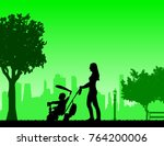 mother walking with her baby on ...   Shutterstock .eps vector #764200006