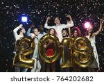 new 2018 year is coming  group... | Shutterstock . vector #764202682