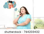 overweight woman dreaming about ... | Shutterstock . vector #764203432