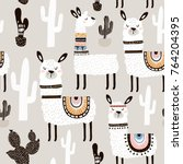 seamless pattern with llama ... | Shutterstock .eps vector #764204395