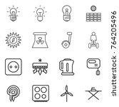 thin line icon set   bulb  sun... | Shutterstock .eps vector #764205496