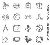 thin line icon set   gear ... | Shutterstock .eps vector #764205502