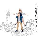 happy boy piggybacking adorable ... | Shutterstock . vector #764207116