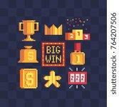 pixel art icons set. big win ... | Shutterstock .eps vector #764207506