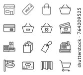 thin line icon set   shop  sale ... | Shutterstock .eps vector #764209525