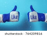 thumb up. hand in knitted... | Shutterstock . vector #764209816