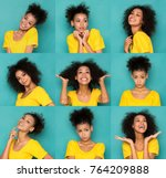 different emotions collage. set ... | Shutterstock . vector #764209888