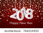 red happy new year 2018... | Shutterstock .eps vector #764214352