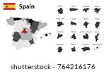 flag and gray map of spain with ... | Shutterstock .eps vector #764216176