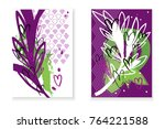 set of cards with abstract... | Shutterstock .eps vector #764221588