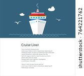 poster with cruise ship   liner ... | Shutterstock .eps vector #764221762