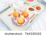 ray with snack or breakfast... | Shutterstock . vector #764230102
