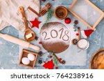 gingerbread dough for christmas ...   Shutterstock . vector #764238916