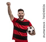 male athlete   fan in red and... | Shutterstock . vector #764240026
