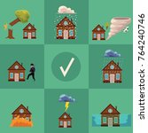 vector flat house insurance... | Shutterstock .eps vector #764240746