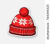vector illustration. red winter ... | Shutterstock .eps vector #764244325