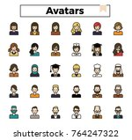 avatar outline icon set filled... | Shutterstock .eps vector #764247322