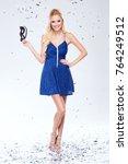 beautiful young blonde woman in ... | Shutterstock . vector #764249512