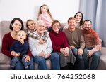 friendly large family making... | Shutterstock . vector #764252068