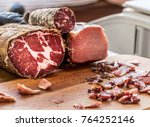 variety of dry cured sausage... | Shutterstock . vector #764252146