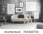 wooden table at grey sofa with... | Shutterstock . vector #764260732