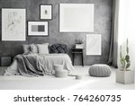 cactus and pouf near king size... | Shutterstock . vector #764260735