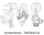 a sketch for the painting with... | Shutterstock .eps vector #764264116