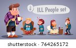set of people having cold ... | Shutterstock .eps vector #764265172