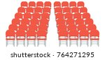 Group Of Red Plastic Chairs...